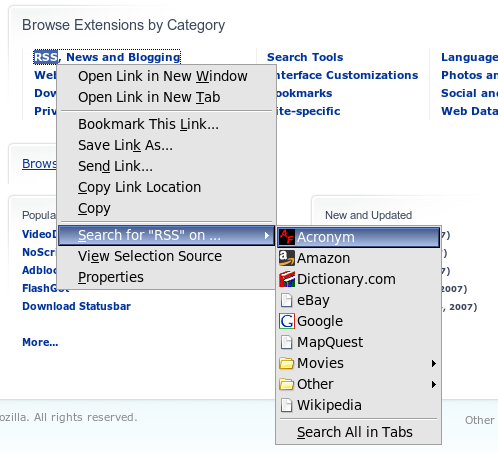 The context menu for a selected word includes a Search submenu with choices like Google, Dictionary.com, Wikipedia, and Amazon.com.